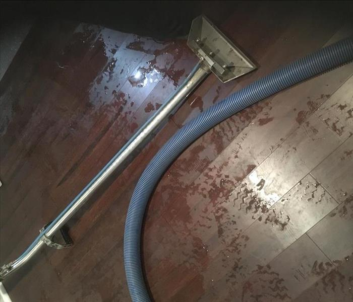 wand head, hose and water on floor planks